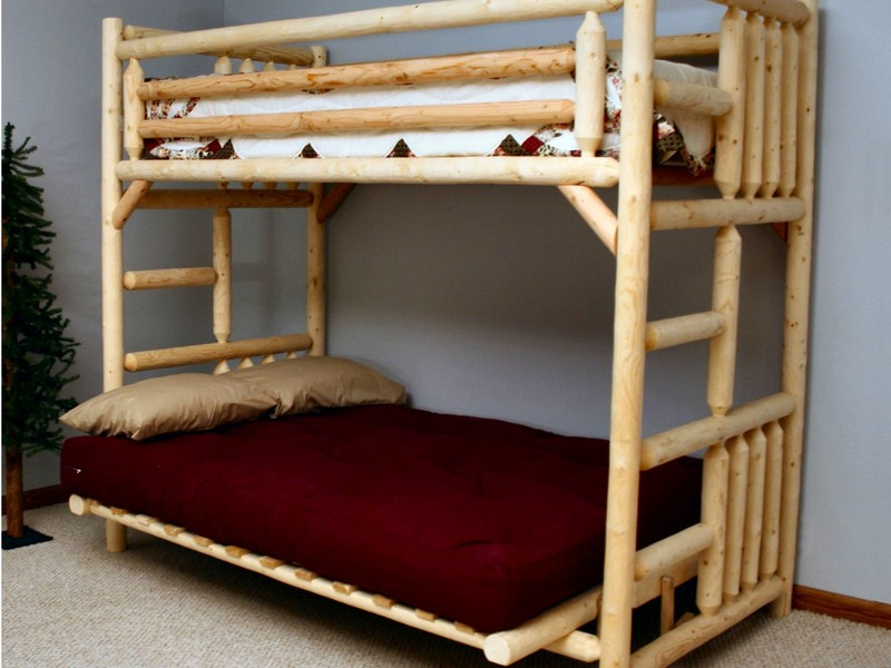 Image of: Rustic Futon Bunk Bed with Mattress Included