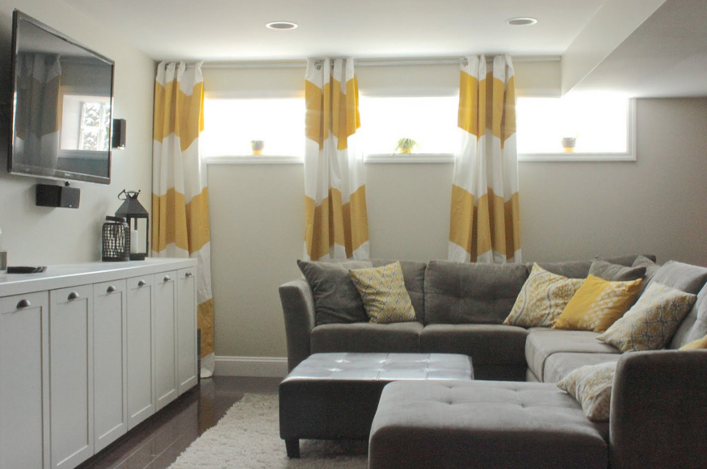 Image of: Simple Basement Window Treatments