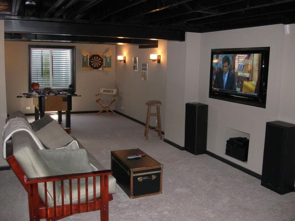 Image of: Small Basement Ideas around Support Posts