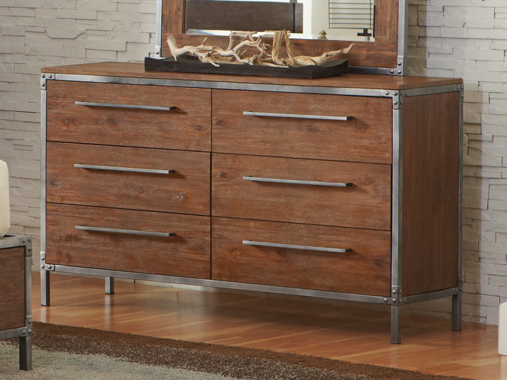 Image of: Acacia Wood Dresser And Mirror