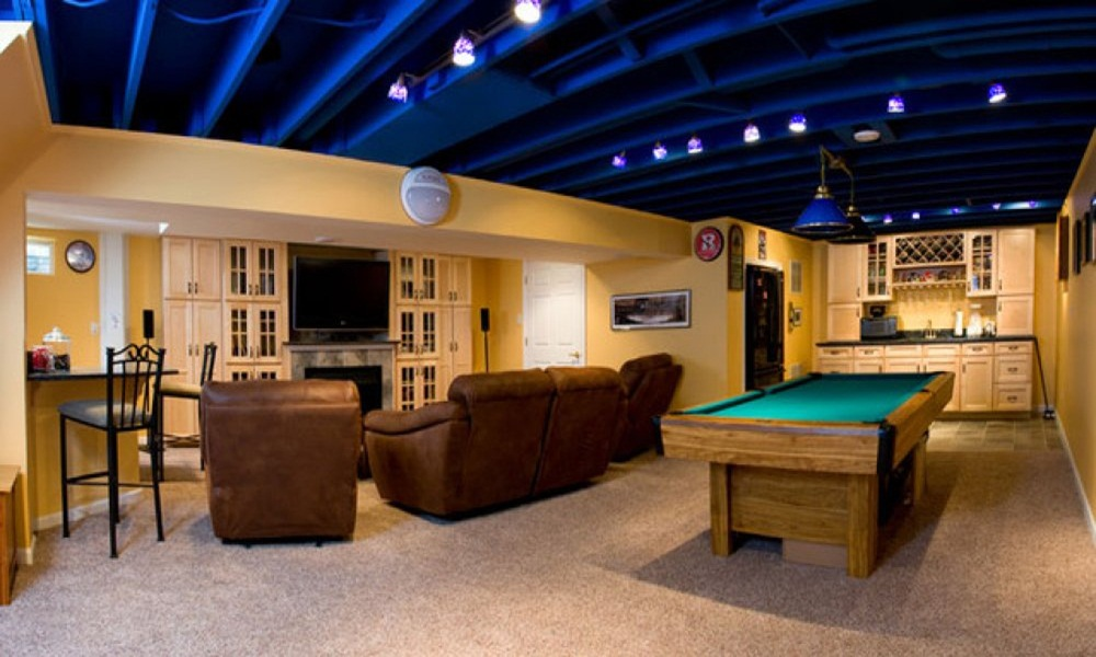 Image of: Awesome Finished Basement Ceiling Ideas