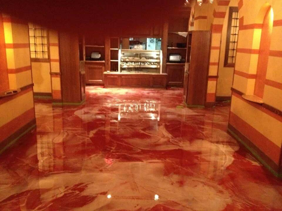 Image of: Awesome Metallic Epoxy Basement Floor