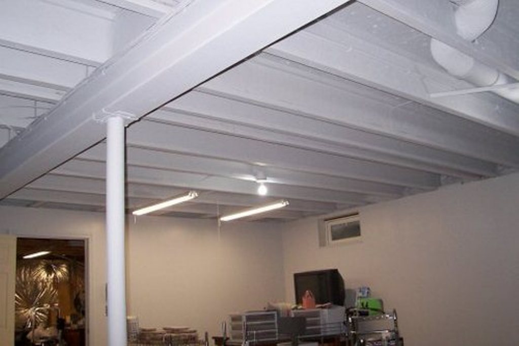 Basement Ceiling Ideas On A Budget White