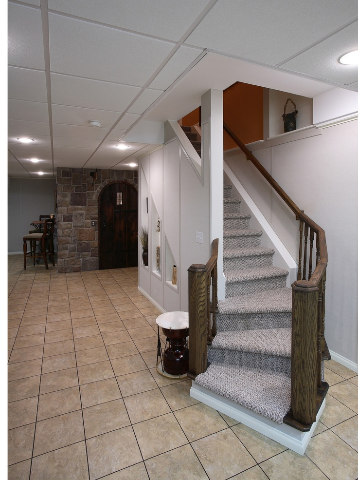 Image of: Basement Stair Lighting Ideas Small