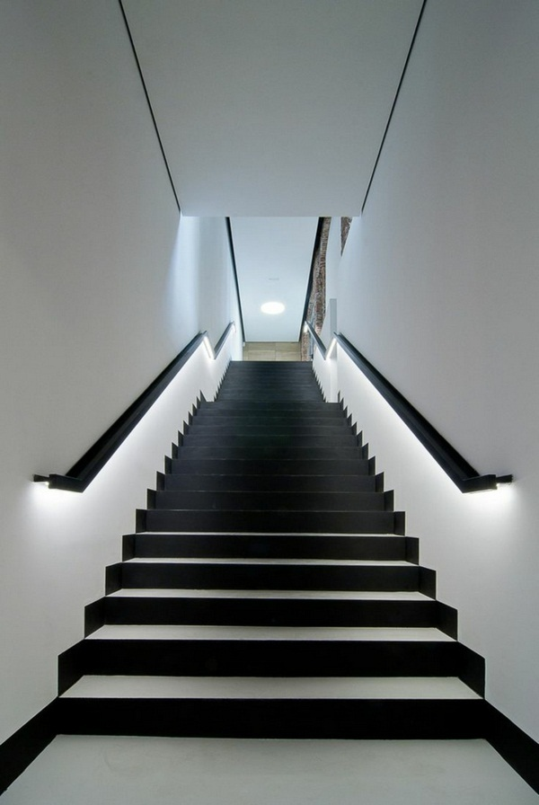 Image of: Basement Stair Lighting Ideas Wide