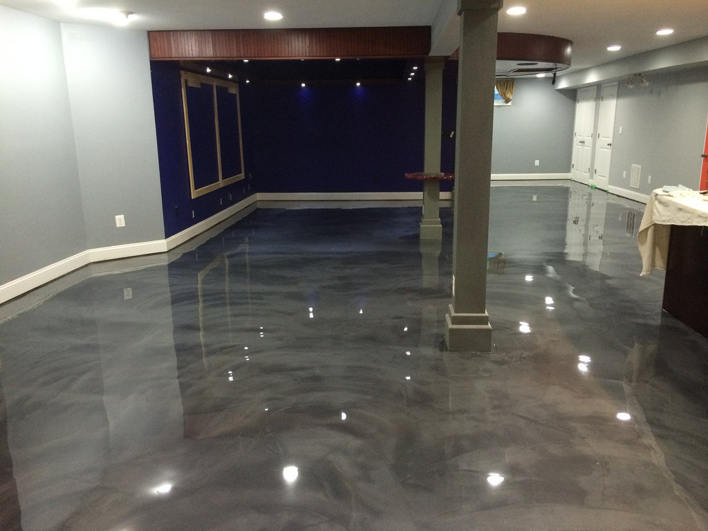 Image of: Best Metallic Epoxy Basement Floor