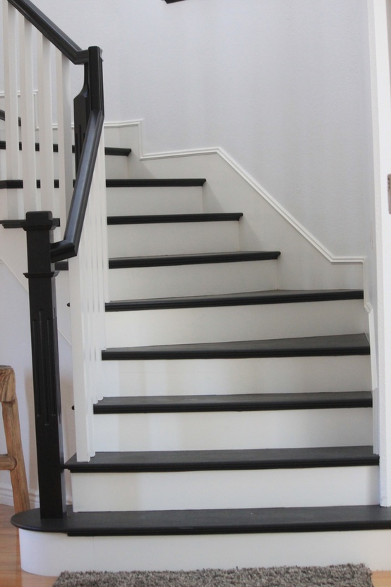Image of: Black and White Paint for Basement Stairs