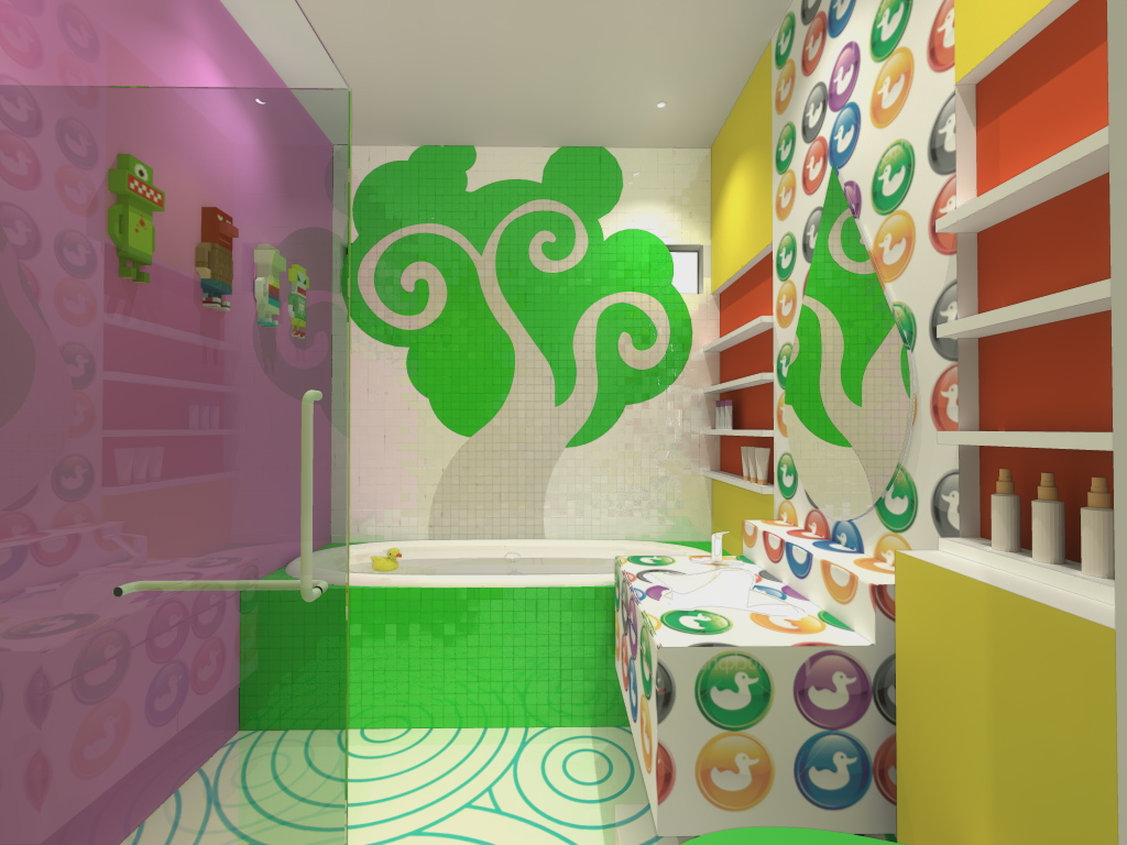 Picture of: Colorful Kids Bathroom Wall Decor