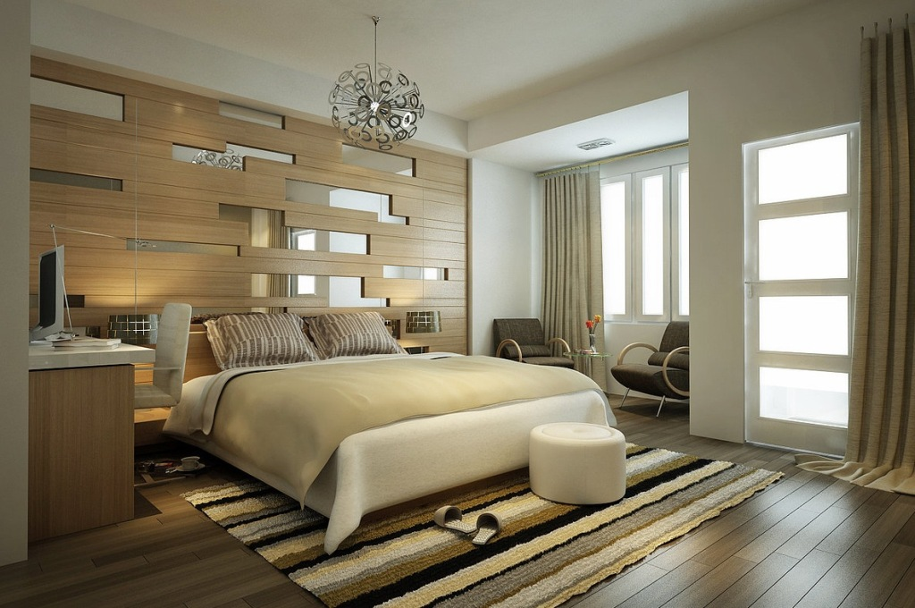 Image of: Contemporary Decorative Mirrors Bedroom Wall