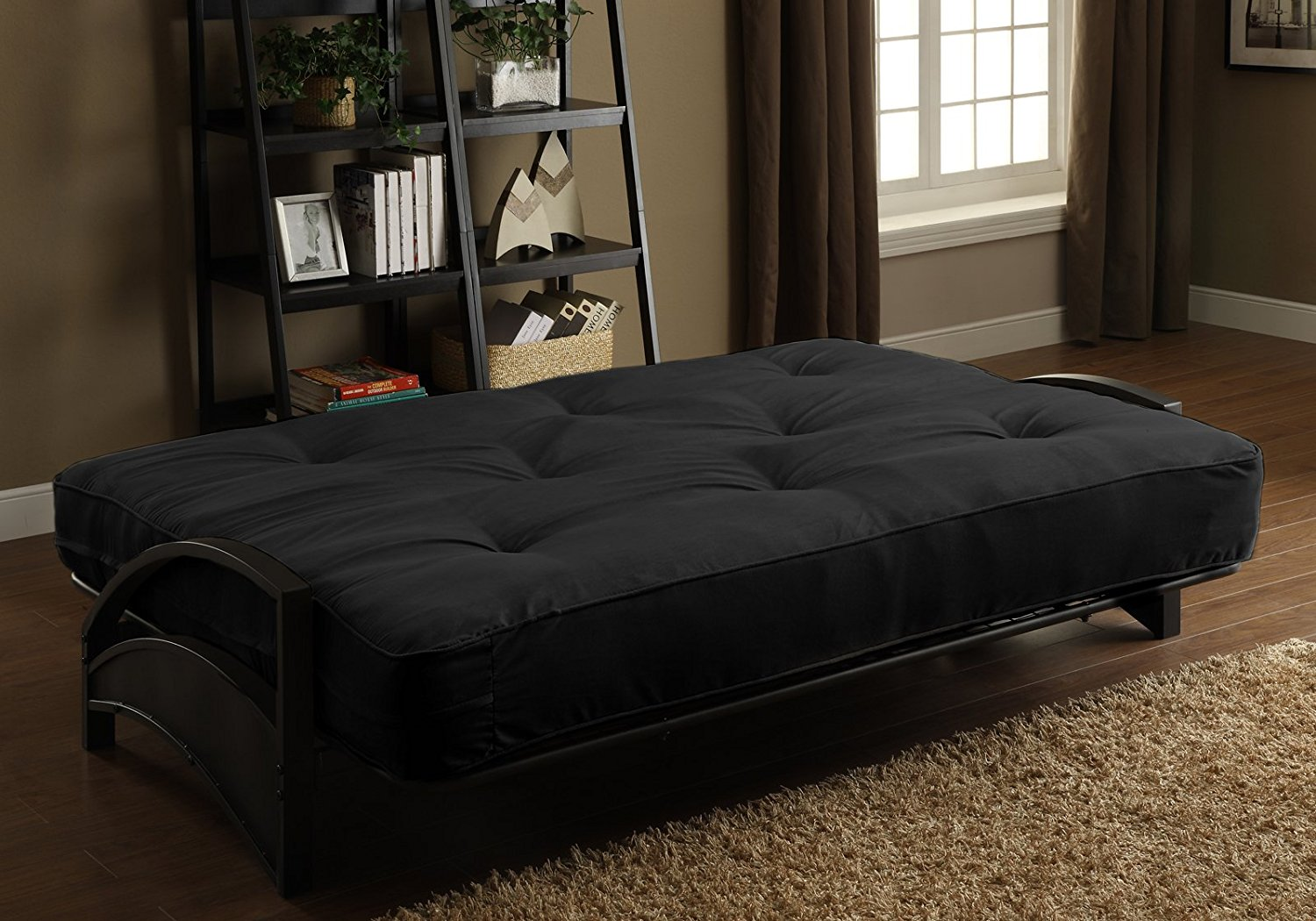 Dark Futon Frame And Mattress Set