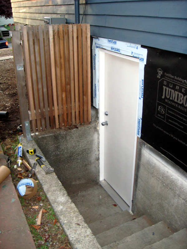 Image of: Exterior Basement Door Framing