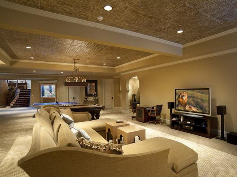 Image of: Finished Basement Ceiling Ideas