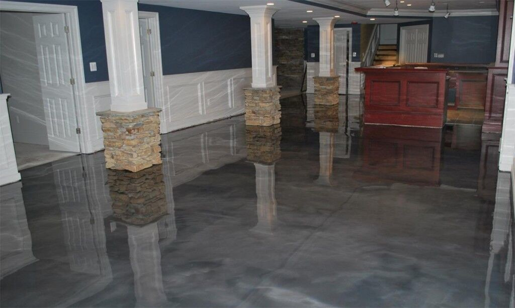Great Metallic Epoxy Basement Floor