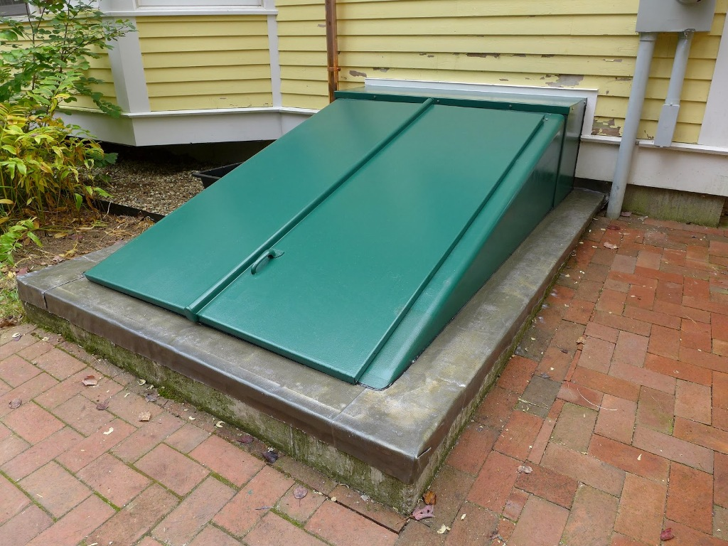 Image of: Green Basement Bulkhead Doors