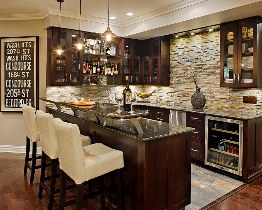 Inspiring Small Basement Bar