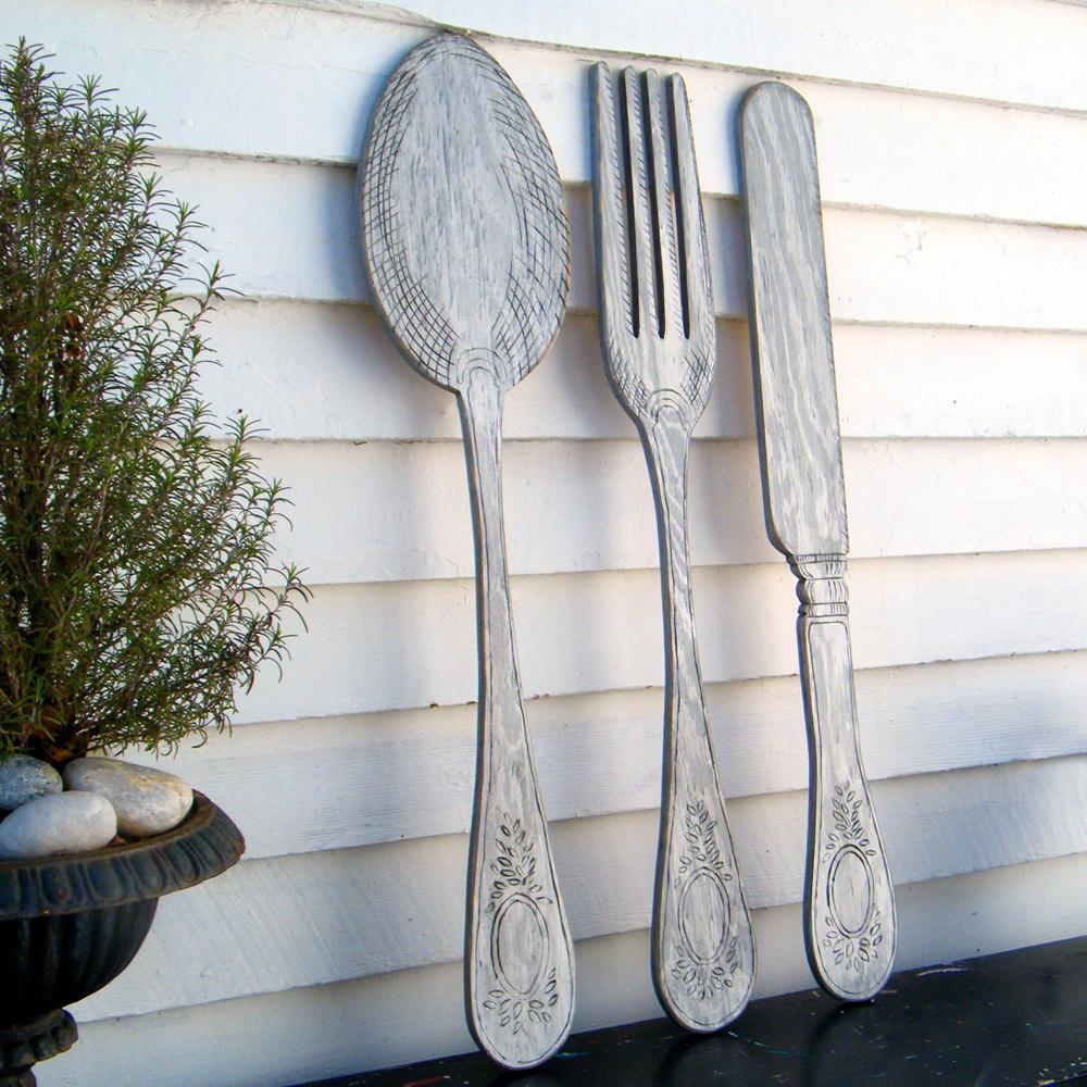 Image of: Large Fork and Spoon Wall Decor Traditional