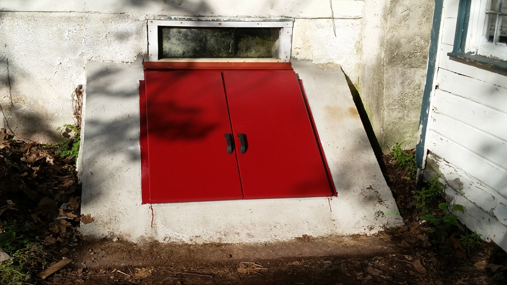 Image of: Red Basement Bulkhead Doors