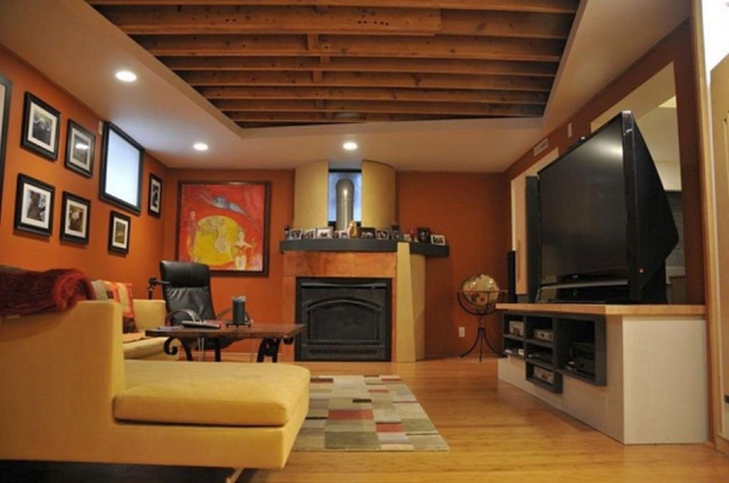 Picture of: Rustic Unfinished Basement Ceiling Ideas
