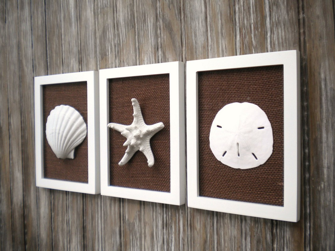 Picture of: Seashell Wall Decor Bathroom in Frame