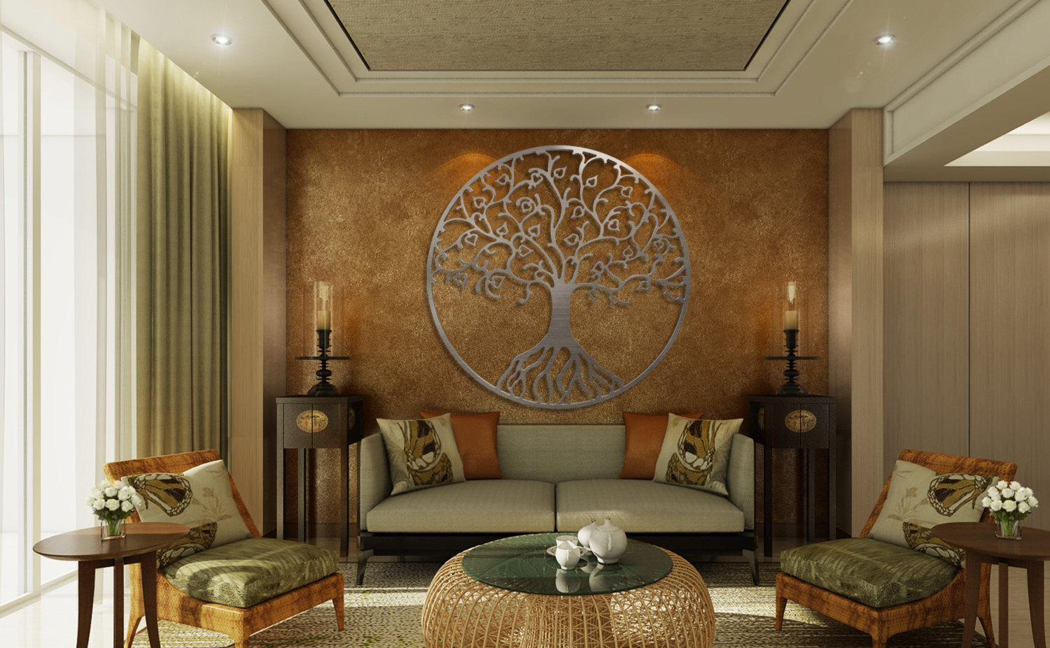 Picture of: Silver Large Wall Decor Ideas For Living Room
