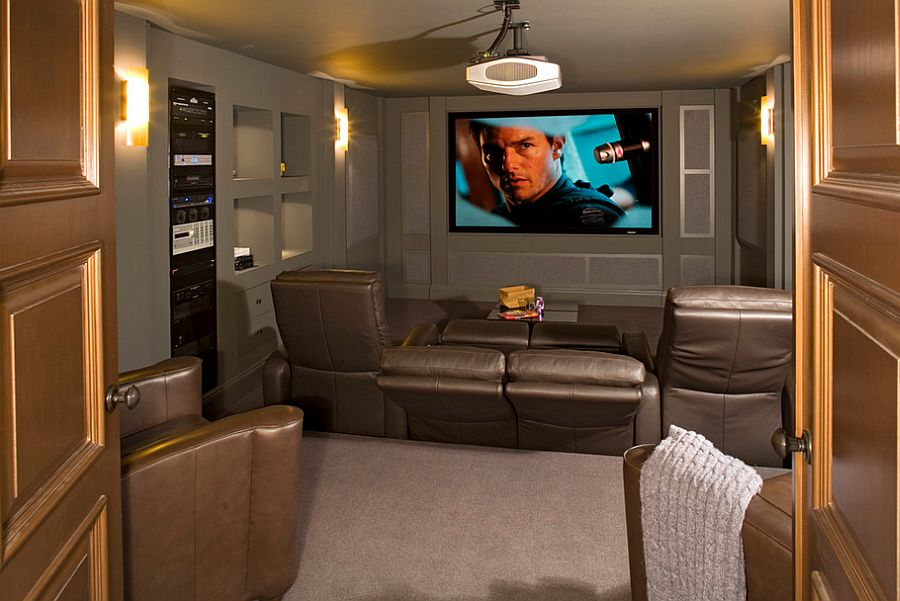 Image of: Small Basement Home Theater Ideas Elegant