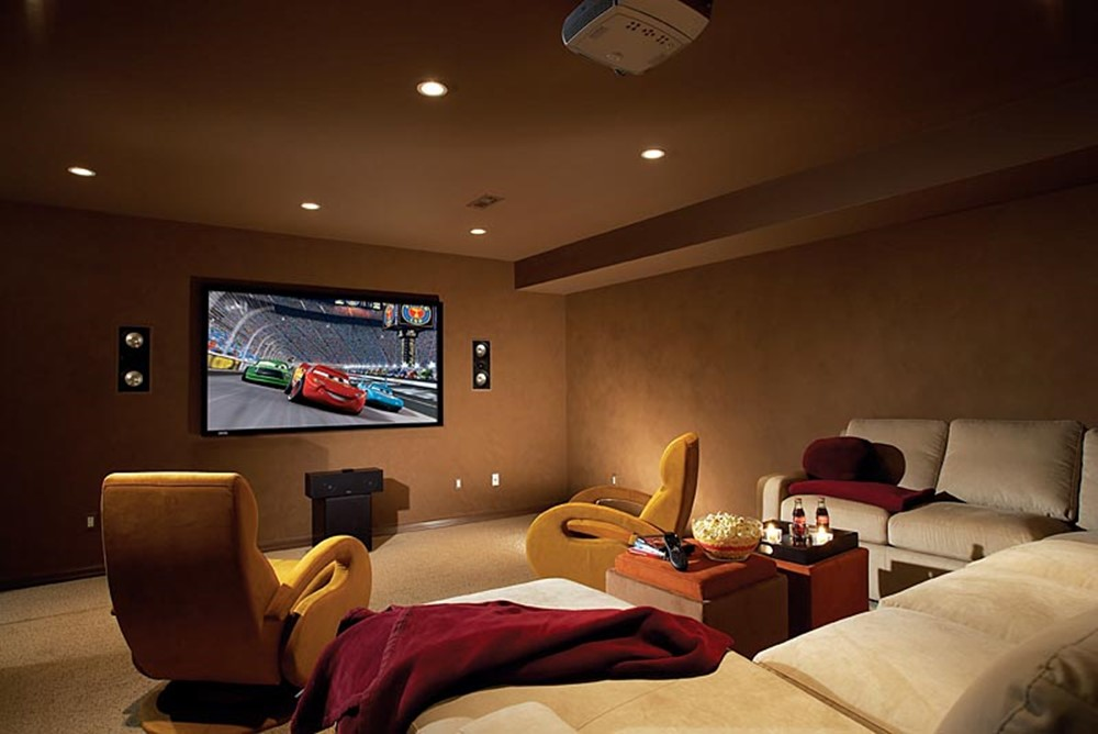 Image of: Small Basement Home Theater Ideas Madern
