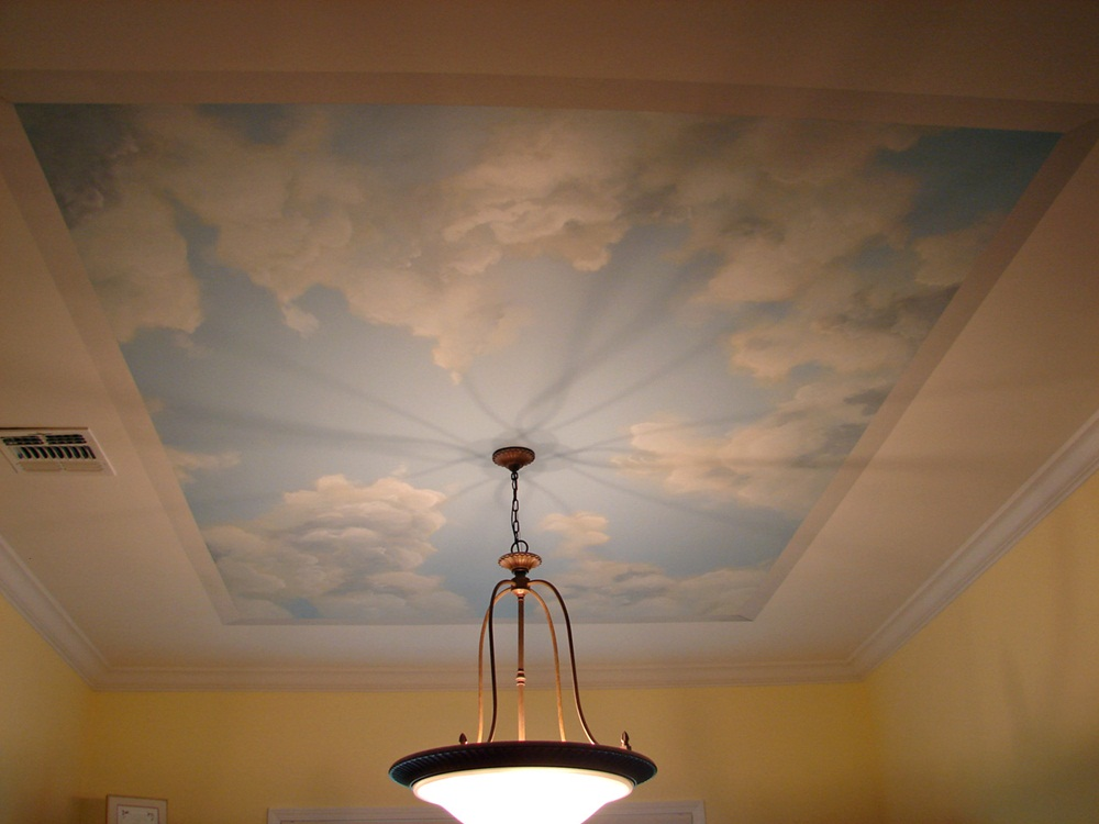 Image of: Style Mural Finished Basement Ceiling Ideas