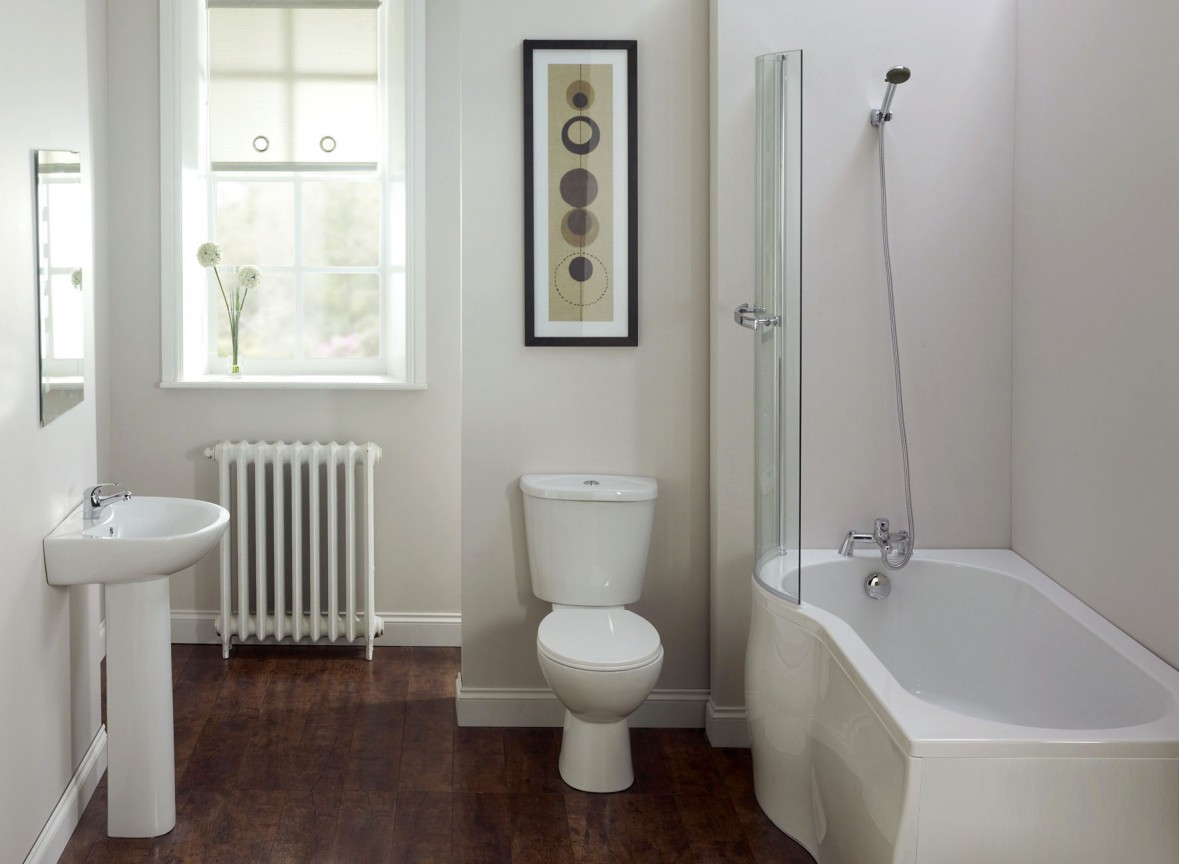 White Basement Bathroom Design Layout