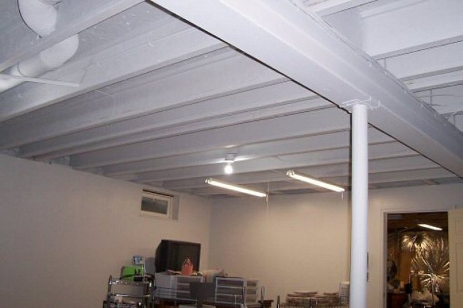 White Basement Ceiling Ideas On A Budget