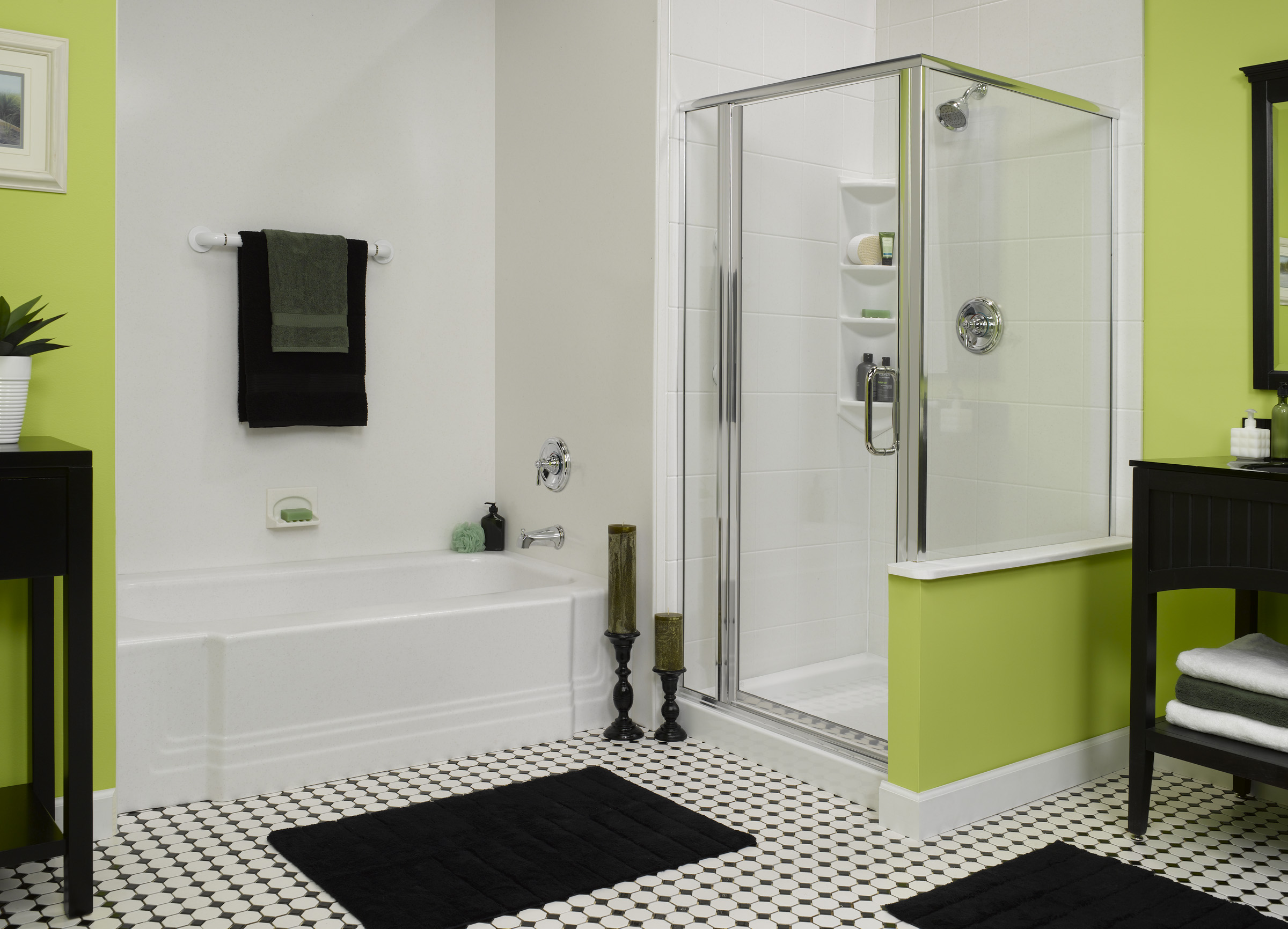 White Green Basement Bathroom Design Layout
