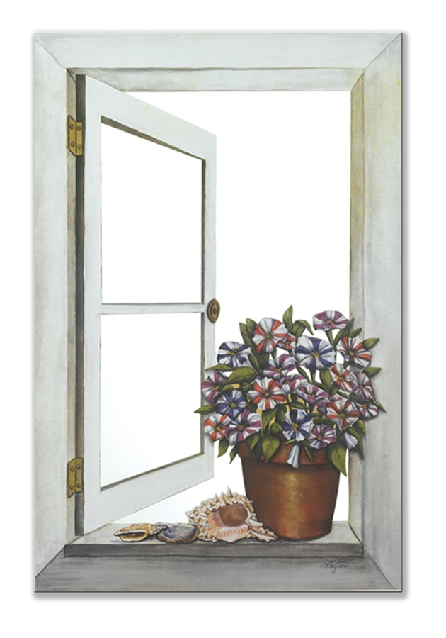 Picture of: Window Mirror Wall Decor with Flower