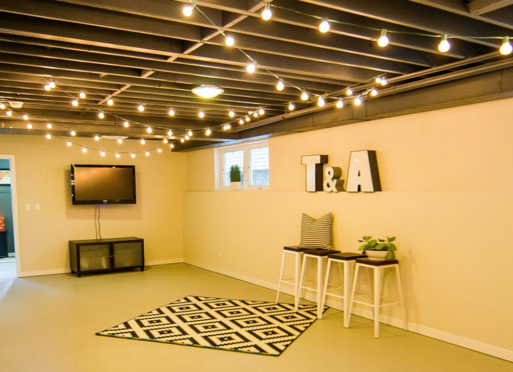Picture of: Affordable Unfinished Basement Lighting Ideas