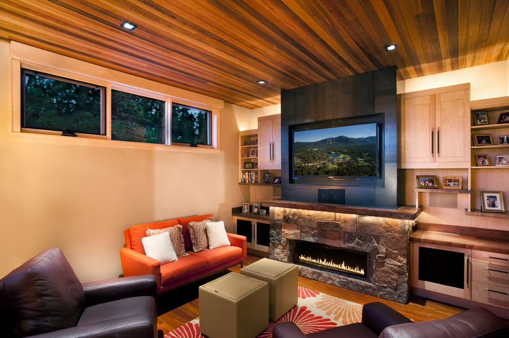 Picture of: Basement Lighting Ideas Low Ceiling Wood