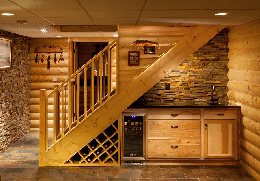Basement Stairs Design Shelf