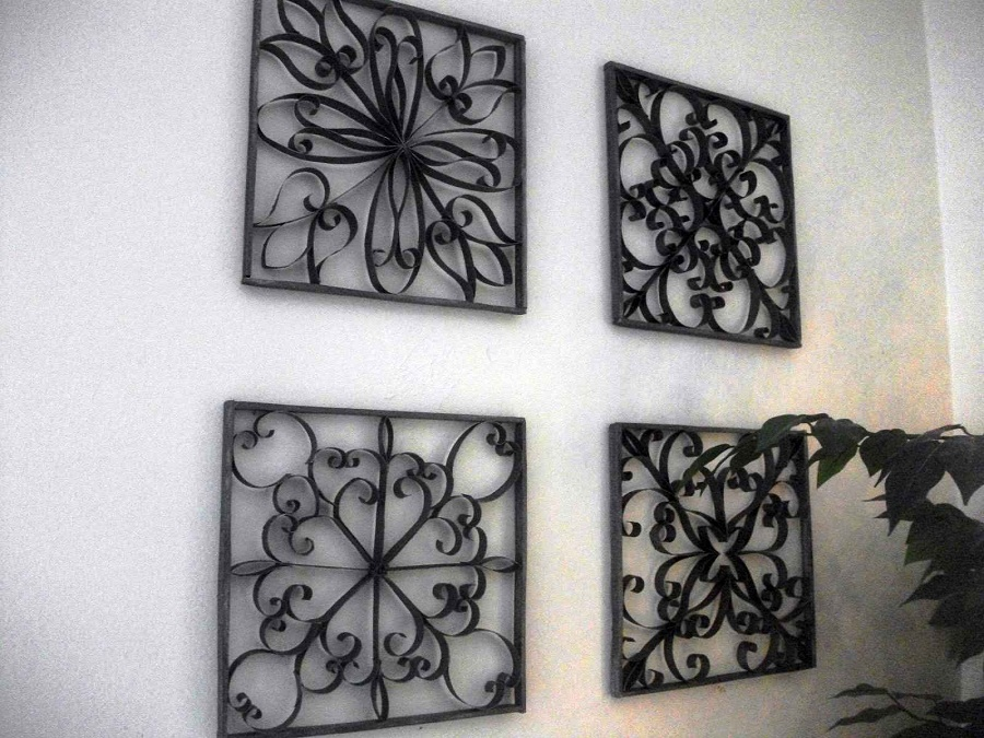 Image of: Large Wrought Iron Wall Decor Square