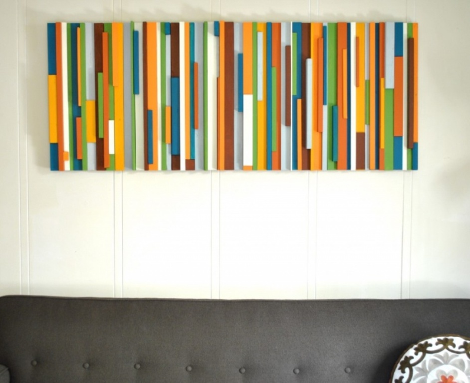Image of: Modern Wood Wall Decor for Bedroom