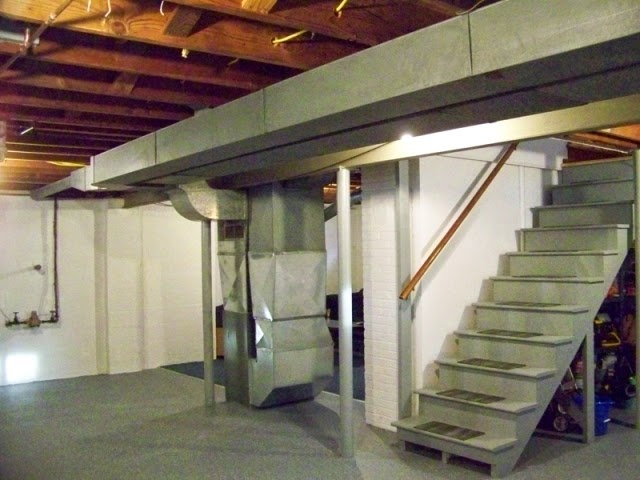 Picture of: Painting Unfinished Basement Walls and Stair