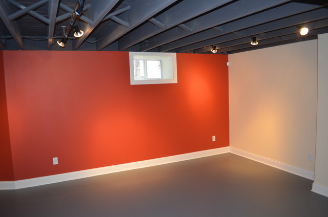 Picture of: Painting Unfinished Basement Walls Red