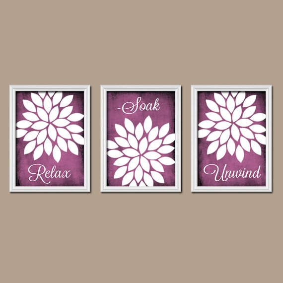 Image of: Purple Bathroom Wall Decor Picture