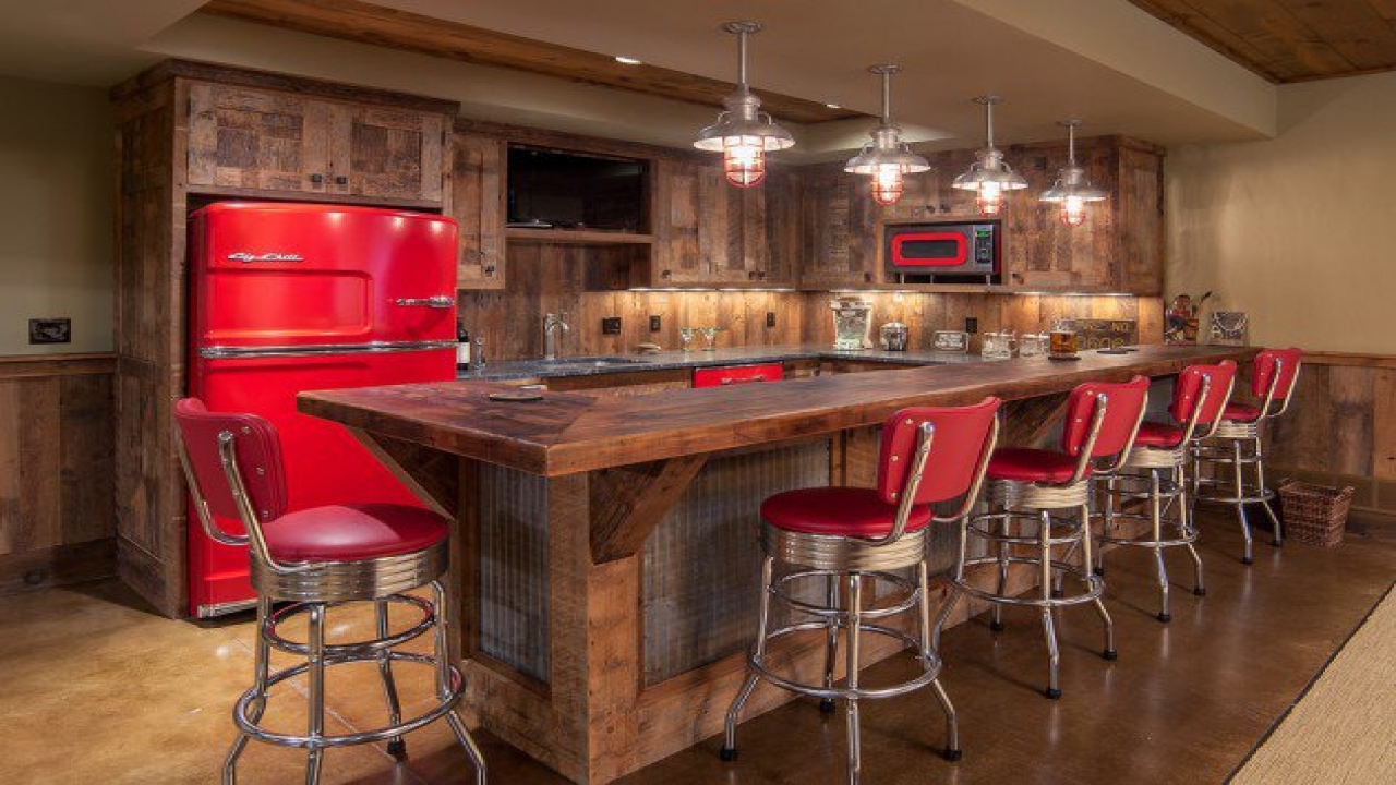 Picture of: Rustic Basement Bar Home