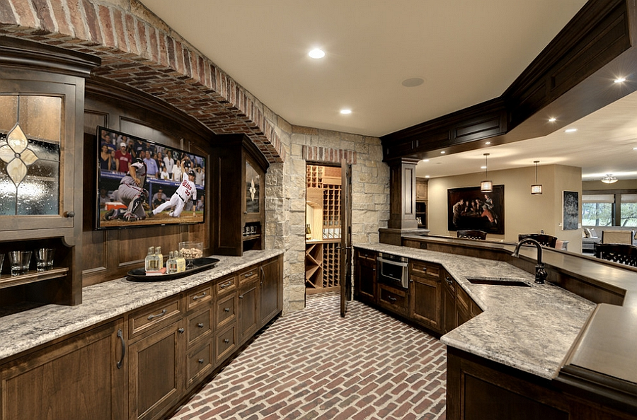 Picture of: Rustic Basement Bar Space